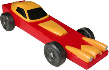 Red Avenger Pinewood Derby Car