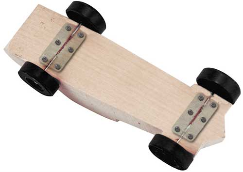 Axle keepers on a pinewood derby block