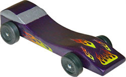 Example of completed Banshee pinewood derby car