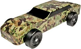 Example of finished pinewood derby car