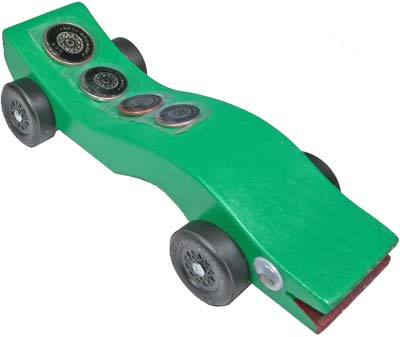 Example of Pinewood Derby Car with coin pockets