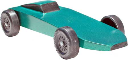 Green Comet pinewood derby car