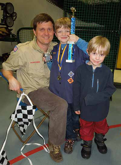 Jonathan wins the pinewood derby.