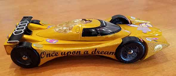 Yellow Pinewood Derby Car