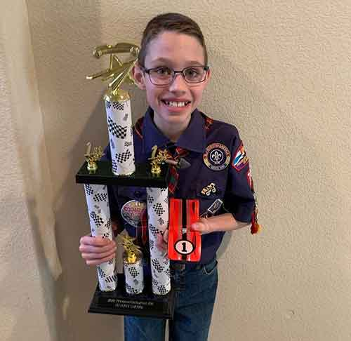 First place pinewood derby winner