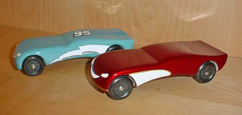 Pinewood derby cars from the cars movie
