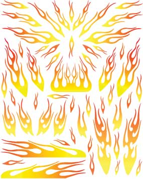 Yellow Flames Decal for pinewood derby cars