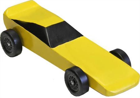 Completed yellow Funnycar pinewood derby car