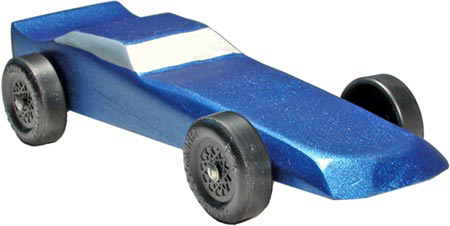 Blue Funnycar pinewood derby car