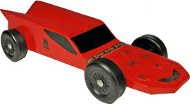Example of completed Hornet pinewood derby car