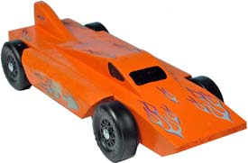 Example of completed Hydro pinewood derby car