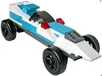 Blue and White  Lego Car Kit