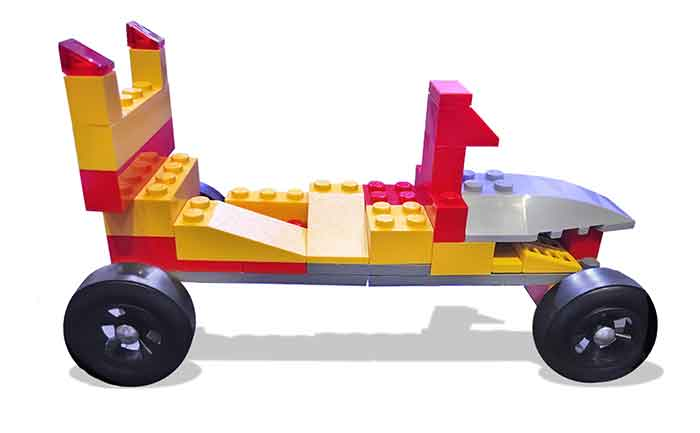 LEGO Pinewood Derby Car with front cockpit and rear spoiler