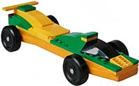 Green-Yellow Lego Pinewood Derby Car Kit