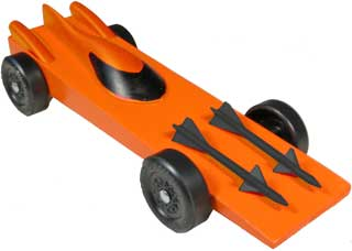 Orange Nomad Pinewood Derby Car