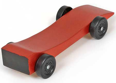 Painted Panther pinewood derby car rear view