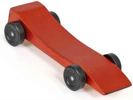Panther pinewood derby car painted orange