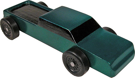 Completed Pickup pinewood derby car painted green