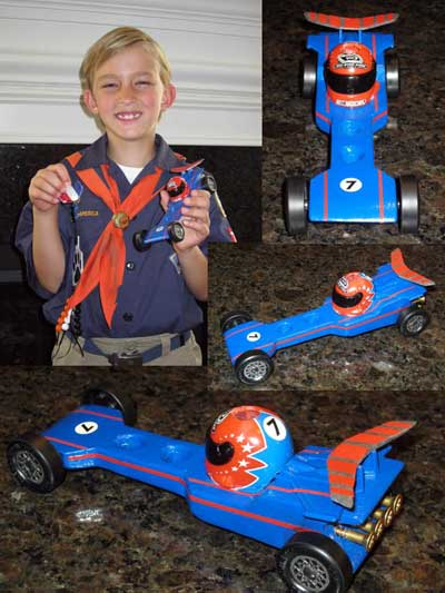 Pinewood Derby Car with racing stripes