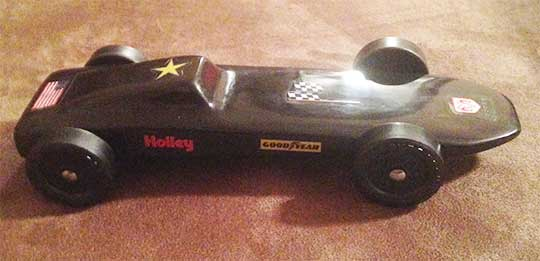 Comet Pinewood Derby Car with NASCAR decals