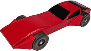 Example of pinewood derby car with two sets of fenders.
