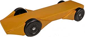 Example of pinewood derby car with three sets of fenders.