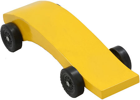 Python pinewood derby car painted yellow