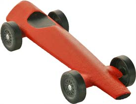 Example of a completed Rocket pinewood derby car.