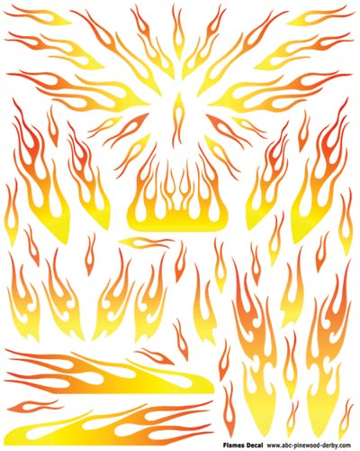 Yellow Flames Pinewood Derby Car Decal