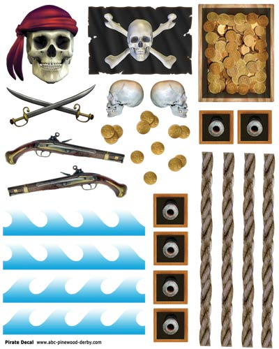 Pirate Pinewood Derby Car Decals