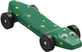 Pinewood derby block painted to look like a snake.