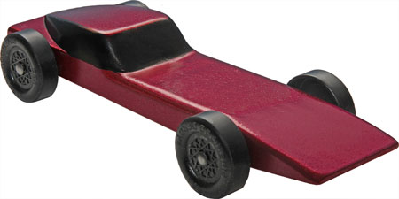 Red Stingray pinewood derby car