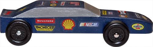 Pinewood Derby Car Precut Block Weighted Stock Side View Painted