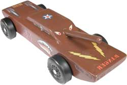 Tank pinewood derby car painted brown
