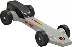 Example of a completed Terminator pinewood derby car