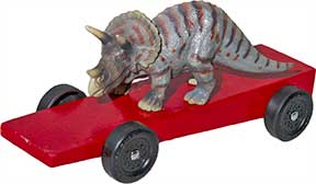 Triceratops pinewood derby car