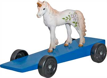 Unicorn pinewood derby car