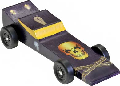 Example of a completed Vampire pinewood derby car