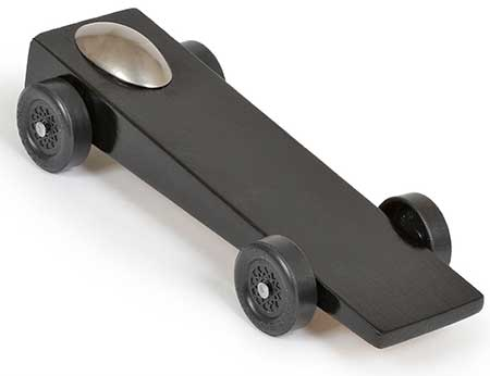 Black Wedge pinewood derby car