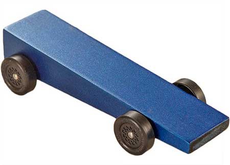 Blue Wedge pinewood derby car