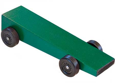 Wedge pinewood derby car painted green.