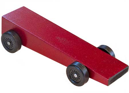 Red Wedge pinewood derby car