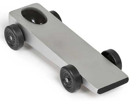 Complete Wedge pinewood derby car painted blue