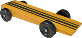 Example of completed wedge pinewood derby car