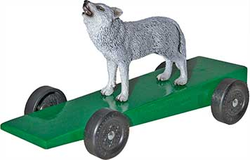 Wolf pinewood derby car